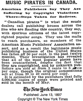Music Pirates in Canada - New York Times, 13 Giugno 1897